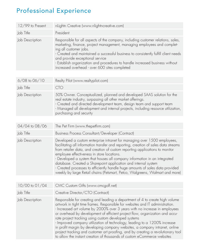 work history resume chronological resume guide part 2